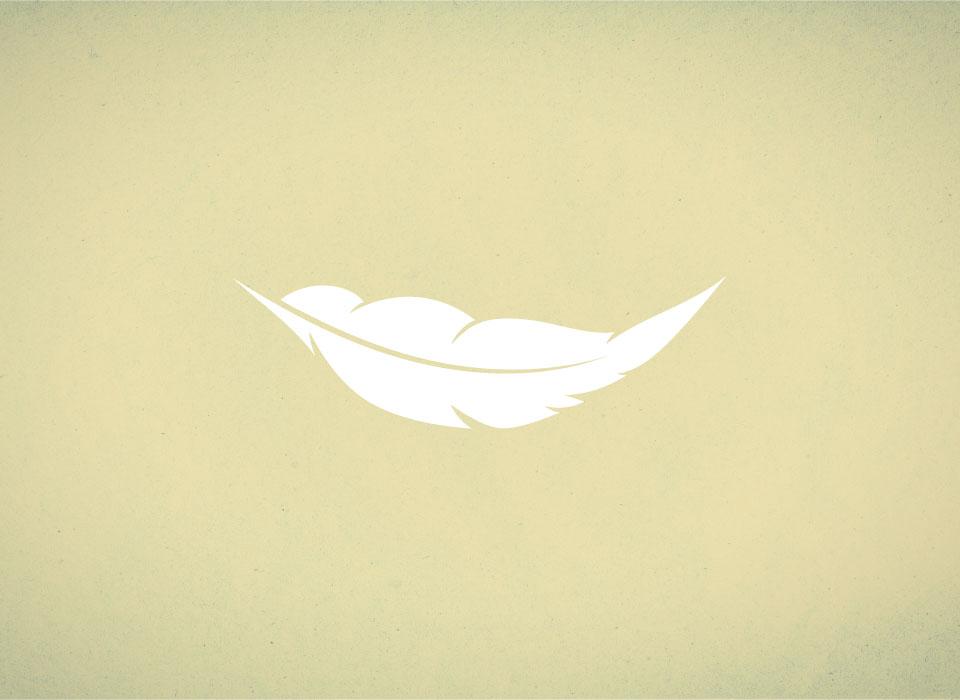 white feather yellow background